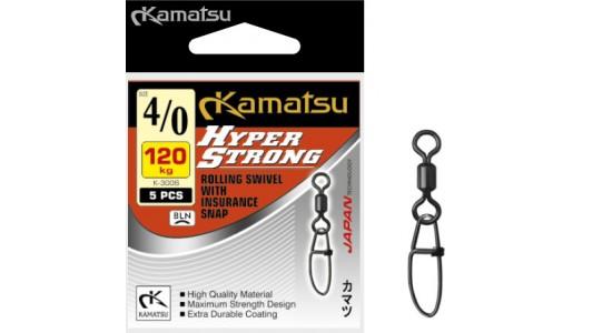 Krętlik z agrafką Hyper Strong K-3006 3/0/90kg op. 5szt Kamatsu