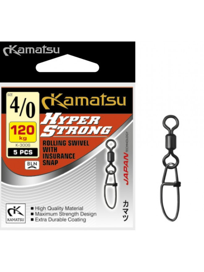 Krętlik z agrafką Hyper Strong K-3006 4/0/120kg op. 5szt Kamatsu