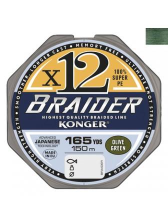Plecionka Braider x12 olive green 0,16/150 Konger