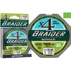 Plecionka Braider x4 fluo green 0,06/150 Konger